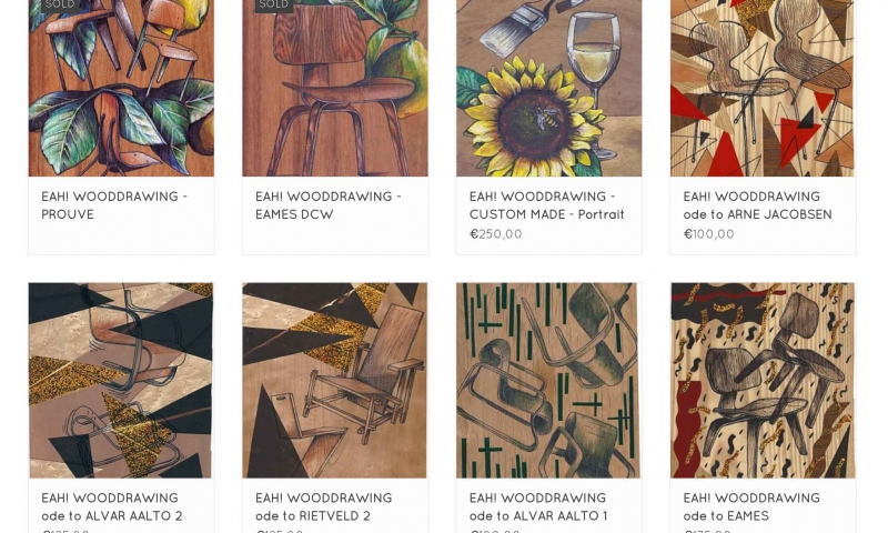 EAH! WoodDrawings by Amsterdam based artist ONLINE !