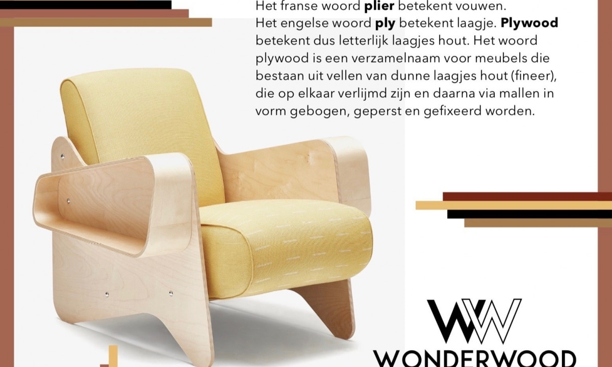 Icons of lounge chairs in plywood